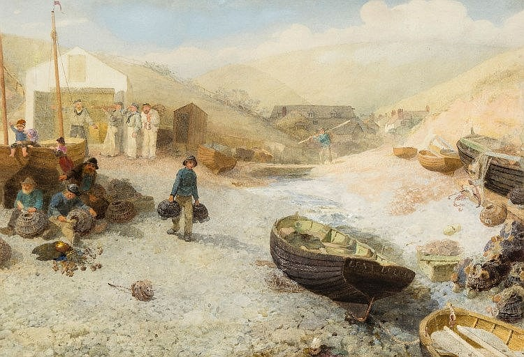 Preparing Lobster Pots by Alfred Dowing Fripp